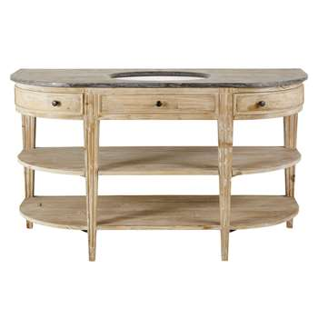 Blue Stone and Recycled Pine Single Sink 2-Drawer Bathroom Vanity Leonce (H84 x W146 x D60cm)