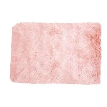 BLUSH Pink Faux Fur Rug (80 x 120cm)