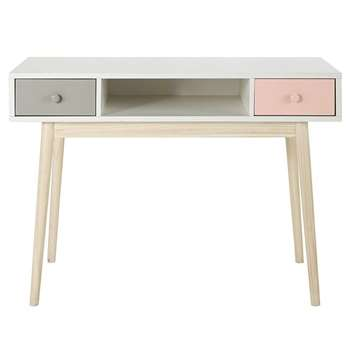 BLUSH Vintage White Desk with 2 Pink and Grey Drawers (H78 x W110 x D55cm)