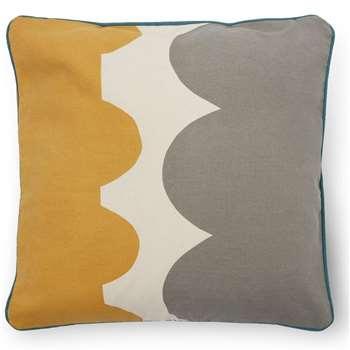 Bodhi Printed Cushion, Grey & Mustard (H45 x W45cm)