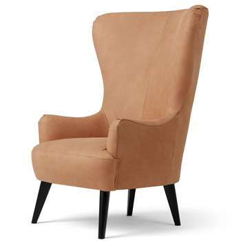 Bodil Accent Chair, Tan Leather (H117 x W82 x D87cm)