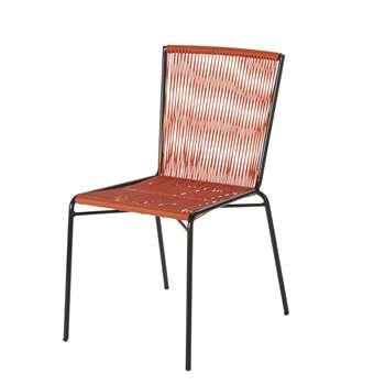 BOGOTA - Black Metal and Orange Resin Garden Chair (H86 x W45 x D60cm)
