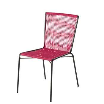 BOGOTA - Black Metal and Pink Resin Garden Chair (H86 x W45 x D60cm)