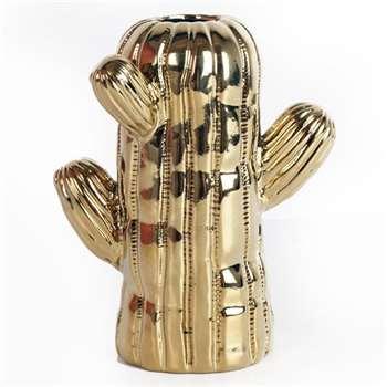 Ceramic Gold Cactus Vase - Small (Height 15.5cm)