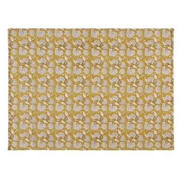 BOHO - Printed Mustard Yellow Cotton Rug (H140 x W200 x D0.5cm)
