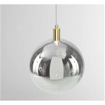 Boll Pendant Lamp, Brass & Smoked Glass (H116 x W25 x D12cm)