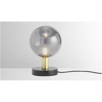 Boll Table Lamp, Black Marble, Brass & Smoked Glass (H22 x W15 x D15cm)