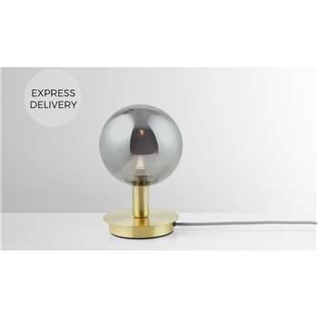 Boll Table Lamp, Brass & Smoked Glass (H22 x W15 x D15cm)