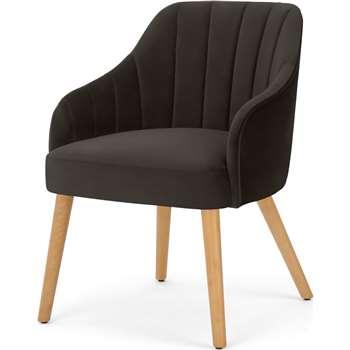 Boltan Dining Chair Grey Velvet and Light Wood Legs (H76 x W56 x D62cm)