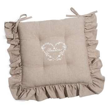 BONHEUR cotton chair pad in beige (40 x 40cm)