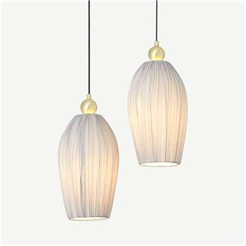Bonney Pleated Shade Pendant Lamp, Brushed Brass & Grey (H169 x W45 x D45cm)