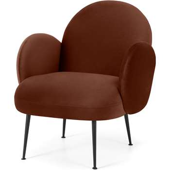 Bonnie Accent Armchair, Warm Caramel Velvet with Black Legs (H79 x W68 x D80cm)