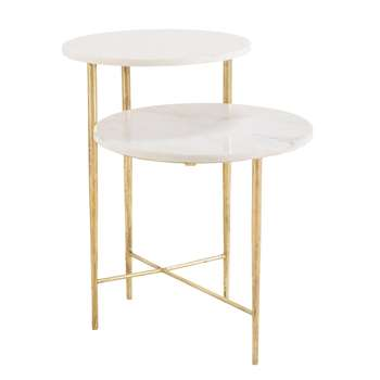 BONNIE End Table with 2 White Marble Tops