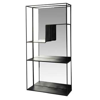 Bonny - Black Metal Shelving Unit with Mirror (H70 x W35 x D13.5cm)