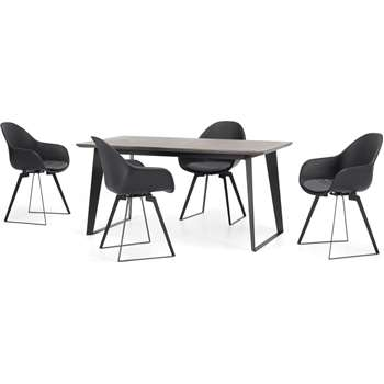 Boone Up to 4 Seat Dining Table and 4 Chair set, Concrete Resin Top (H76 x W160 x D80cm)