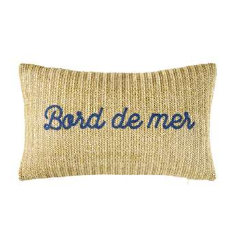 BORD DE MER Woven Outdoor Cushion with Blue Cord Words (H30 x W50 x D10cm)