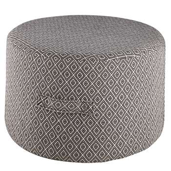 BOREAL Black cotton pouffe with ecru jacquard motifs (32 x 55cm)