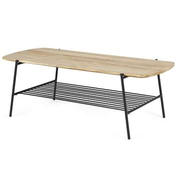 Bortolin Coffee Table, Light Mango Wood and Black (H42 x W120 x D52cm)