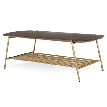 Bortolin Coffee Table, Mango Wood and Brass (H42 x W120 x D52cm)