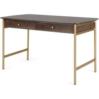 Bortolin Desk, Mango Wood and Brass (H76 x W130 x D64cm)