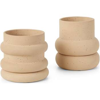 Bosca Set Of Two Earthenware Planters, Sand (H18 x W18 x D18cm)