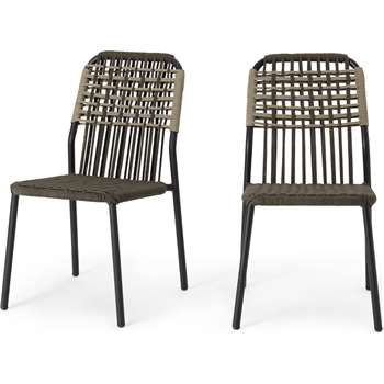 Bosco Garden set of 2 Garden Dining Chairs, Green and Taupe (H85 x W46.5 x D56cm)