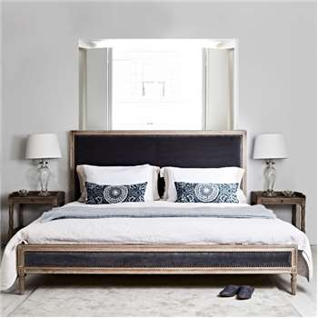 Boston Bed - Kingsize Grey Velvet (H128 x W164 x D218cm)