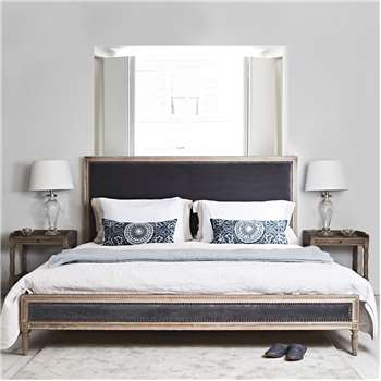 Boston Bed - Superking Grey Velvet (H128 x W194 x D218cm)