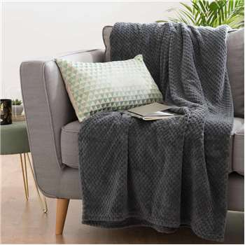BOSTON Grey Fabric Throw (150 x 230cm)