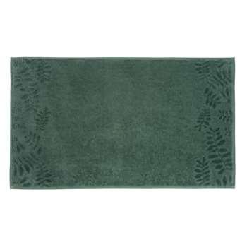 BOTANIC Green Cotton Bath Mat with Leaf Motifs (50 x 80cm)