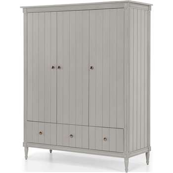 Bourbon Vintage 3 Door Triple Wardrobe, Grey (H185 x W150 x D58cm)