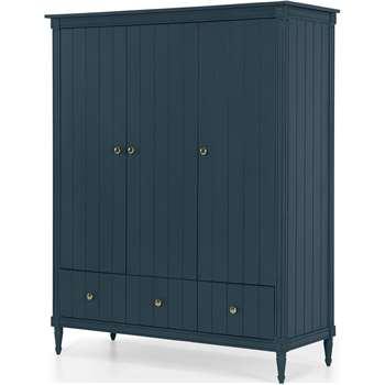 Bourbon Vintage 3 Door Triple Wardrobe, Vintage Blue (H185 x W150 x D58cm)