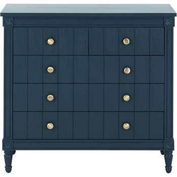 Bourbon Vintage Chest Of Drawers, Dark Blue (H93 x W100 x D50cm)