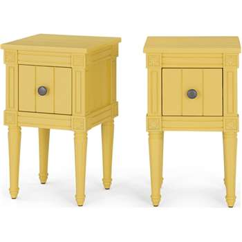 Bourbon Vintage Set of 2 Compact Bedside Table, Mustard (H58 x W35 x D32cm)