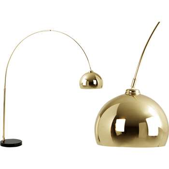 Bow, Large Floor Lamp Brass and Black Marble (196 x 150cm)