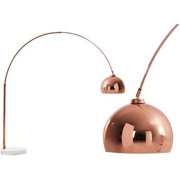 Bow, Large Floor Lamp Copper & White Marble (196 x 150cm)