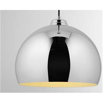 Bow Pendant Lamp, Chrome (H120 x W35 x D35cm)