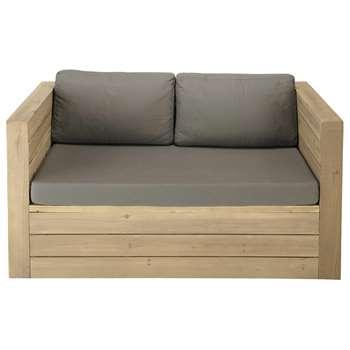 BRÉHAT 2 seater wooden garden bench seat (70 x 141cm)