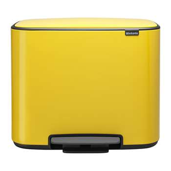 Brabantia - Bo Dual Bucket Pedal Bin - Daisy Yellow (H44 x W54 x D36.5cm)