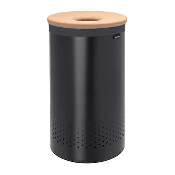 Brabantia - Cork Lid Laundry Bin - Black - 60 Litres (H63.5 x W38 x D38cm)