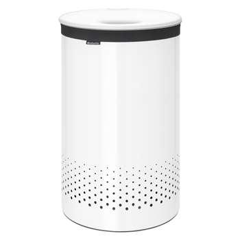 Brabantia Steel Lid Laundry Bin - White 60L - 67 x 39.6cm