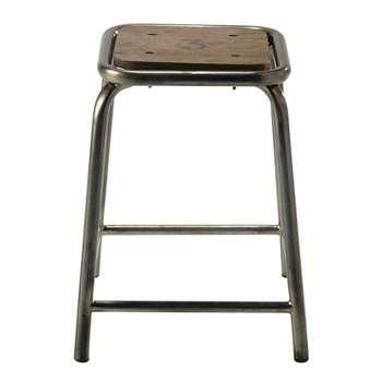 BRADFORD black metal and mango wood stool (48 x 38cm)