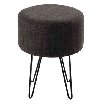 BRADY metal and grey cotton stool (45 x 35cm)