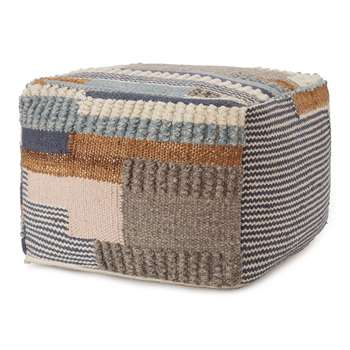 Brahmani Wool Pouffe, Dark Blue, Light Blue & Mustard (H35 x W50 x D50cm)