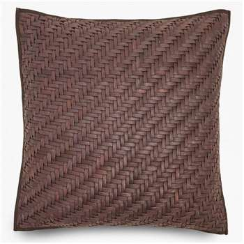 Braided Leather Cushion - Brown (H45 x W45cm)