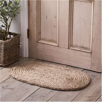 Braided Oval Doormat, Beige (46 x 77cm)