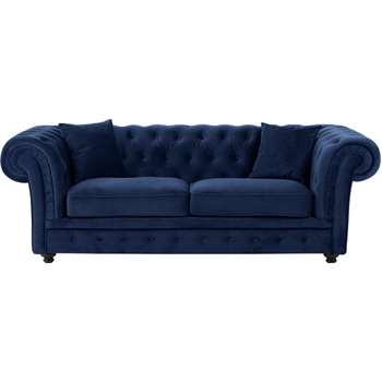 Branagh 2 Seater Chesterfield Sofa, Electric Blue Velvet (76 x 216cm)