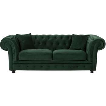 Branagh 2 Seater Chesterfield Sofa, Pine Green Velvet (76 x 216cm)