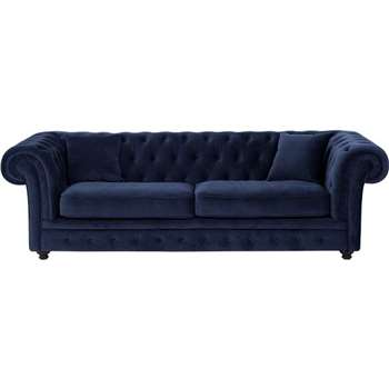 Branagh 3 Seater Chesterfield Sofa, Electric Blue Velvet (76 x 246cm)