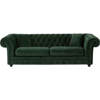 Branagh 3 Seater Chesterfield Sofa, Pine Green Velvet (76 x 246cm)